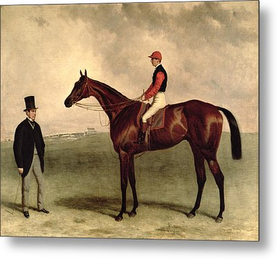 Gladiateur With Harry Grimshaw Up And His Owner Count Frederic De Lagrange Metal Print by Harry Hall