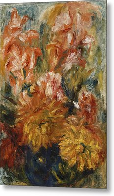 Gladioli In A Blue Vase Metal Print by Pierre Auguste Renoir