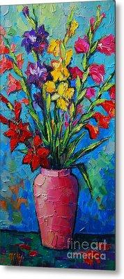 Gladioli In A Vase Metal Print
