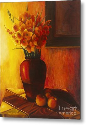 Metal Print featuring the painting Gladioli Red by Marlene Book