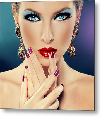 Glamorous Lady Metal Print by Karen Showell