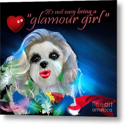 Metal Print featuring the digital art Glamour Girl-3 by Kathy Tarochione
