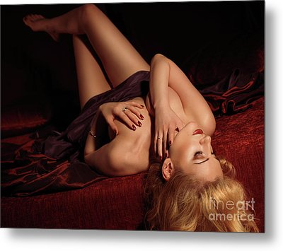 Glamour Photo Of A Woman Lying On A Bed Metal Print by Oleksiy Maksymenko