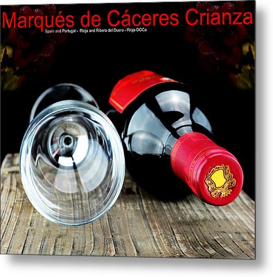 Glass And A Bottle Of Wine  Metal Print