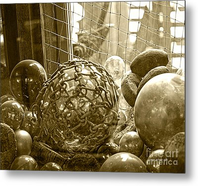 Glass Balls Japanese Glass Buoys Metal Print by Artist and Photographer Laura Wrede