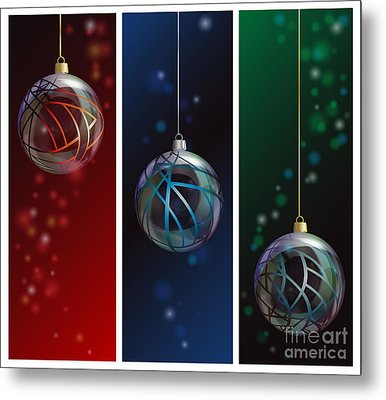 Glass Bauble Banners Metal Print by Jane Rix