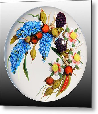 Glass Berries And Blooms Metal Print by Chris Buzzini