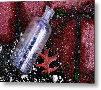 Glass Bottle And  Bricks Metal Print by Colleen Kammerer