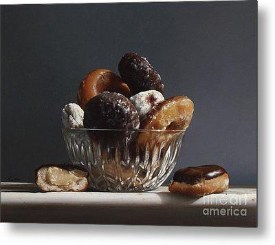 Glass Bowl Of Donuts Metal Print by Larry Preston