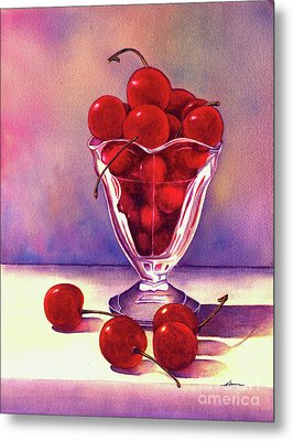 Glass Full Of Cherries Metal Print