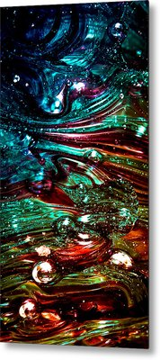 Glass Macro Abstract Rb3ce Metal Print by David Patterson