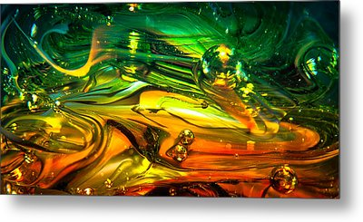 Glass Macro Abstract Rgo1ce2 Metal Print by David Patterson