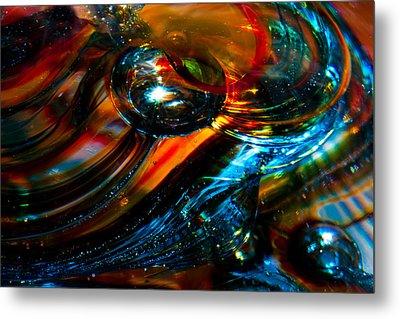 Glass Macro - Blues And Orange Metal Print by David Patterson
