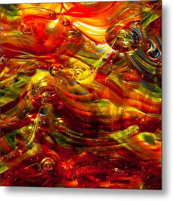 Glass Macro - Burning Embers Metal Print by David Patterson