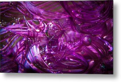 Glass Macro - Deep Pinks IIi Metal Print by David Patterson