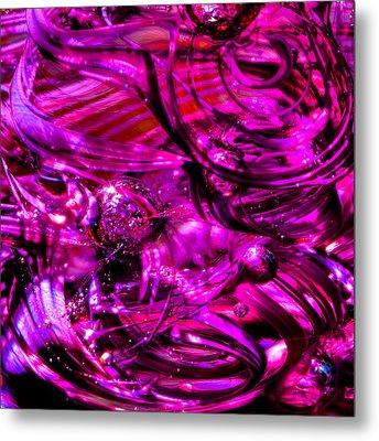 Glass Macro - Hot Pinks Metal Print by David Patterson