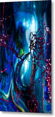 Glass Macro - The Blue Bubble Metal Print by David Patterson