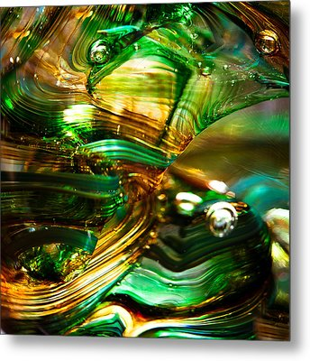 Glass Macro - Waves Of Amber Metal Print by David Patterson