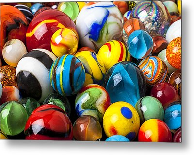 Glass Marbles Metal Print by Garry Gay