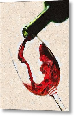 Glass Of Red Wine Metal Print