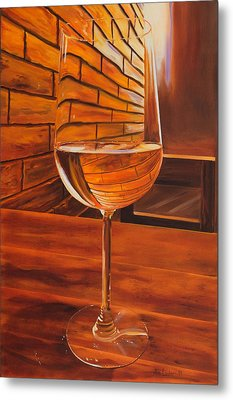 Glass Of Viognier Metal Print