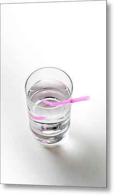 Glass Of Water With A Straw Metal Print