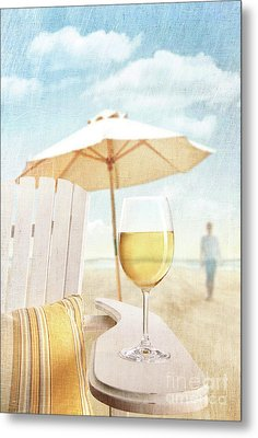 Glass Of  Wine On Adirondack Chair At The Beach Metal Print by Sandra Cunningham