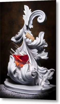 Glass Of Wine With Cork Still Life Metal Print by Tom Mc Nemar