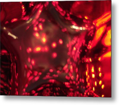 Glass Red And Orange Star Metal Print