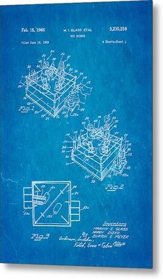 Glass Rock Em Sock Em Robots Toy Patent Art 1966 Blueprint Metal Print by Ian Monk