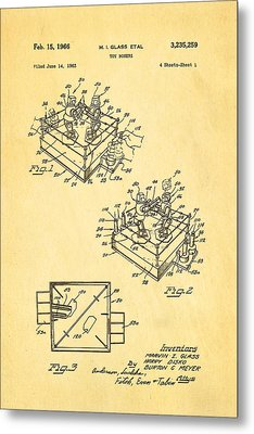 Glass Rock Em Sock Em Robots Toy Patent Art 1966 Metal Print by Ian Monk