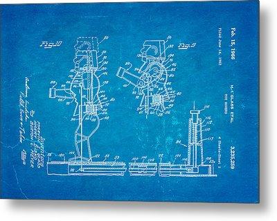 Glass Rock Em Sock Em Robots Toy Patent Art 3 1966 Blueprint Metal Print by Ian Monk