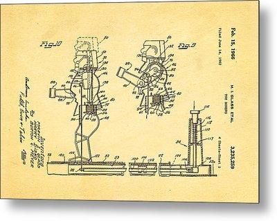 Glass Rock Em Sock Em Robots Toy Patent Art 3 1966 Metal Print by Ian Monk