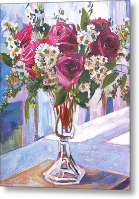 Glass Roses Metal Print by David Lloyd Glover
