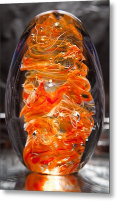 Glass Sculpture Orange And White Ego1  Metal Print by David Patterson