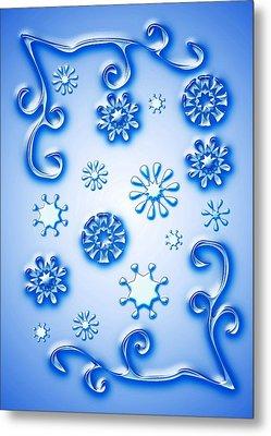 Glass Snowflakes Metal Print