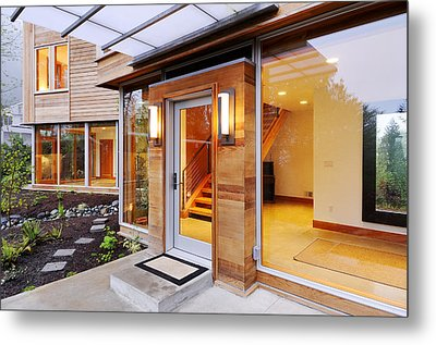 Glass Windows In Modern Home Metal Print by Will Austin