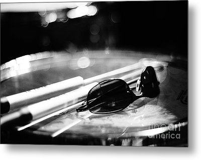 Glasses And Sticks Bw Metal Print by Lynda Dawson-Youngclaus