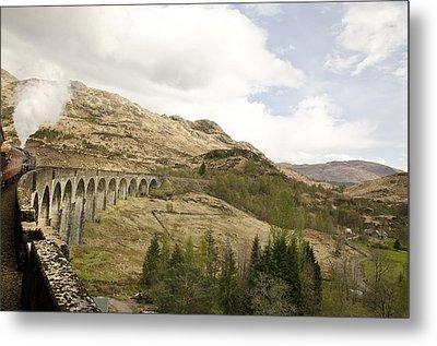 Glenfinnan Train Viaduct Scotland Metal Print by Sally Ross
