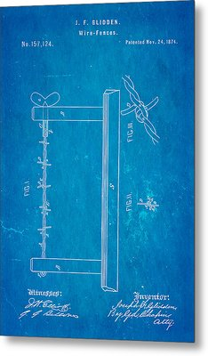 Glidden Barbed Wire Patent Art 1874 Blueprint Metal Print by Ian Monk