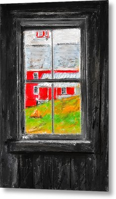 Glimpse Of Country Life- Red Barn Art Metal Print