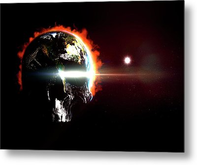 Global Destruction Metal Print by Animate4.com/science Photo Libary