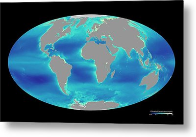 Global Phytoplankton Levels Metal Print by Nasa/seawifs/geoeye