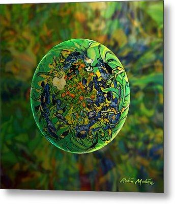 Globing Earth Irises Metal Print by Robin Moline