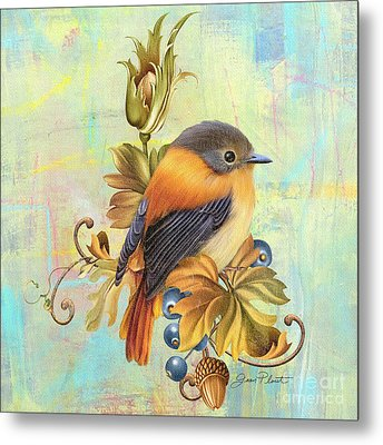 Glorious Birds On Aqua-a2 Metal Print by Jean Plout