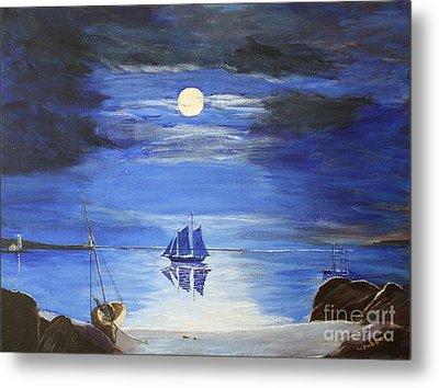 Gloucester Harbor By Moonlight Metal Print