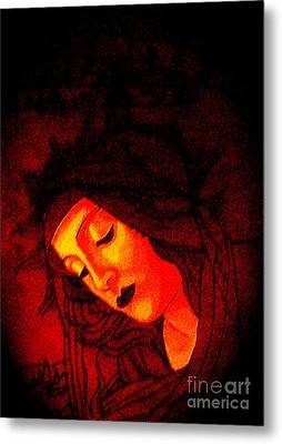 Glowing Botticelli Madonna Metal Print by Genevieve Esson