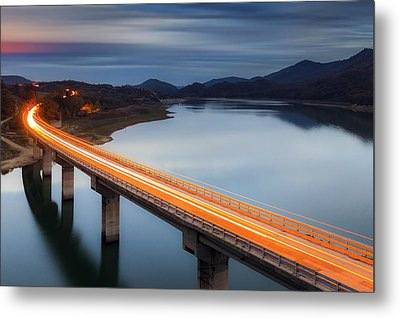 Glowing Bridge Metal Print by Evgeni Dinev