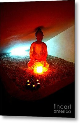 Metal Print featuring the photograph Glowing Buddha by Linda Prewer