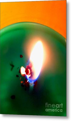 Glowing Candle Wick Metal Print